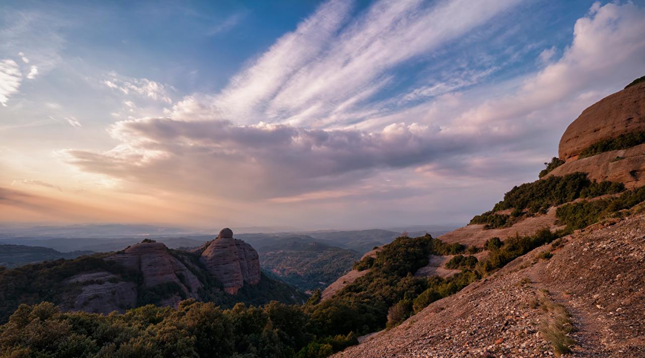 Bilder Spanien Catalonia Berg Natur Felsen Himmel Wolke Gebirge