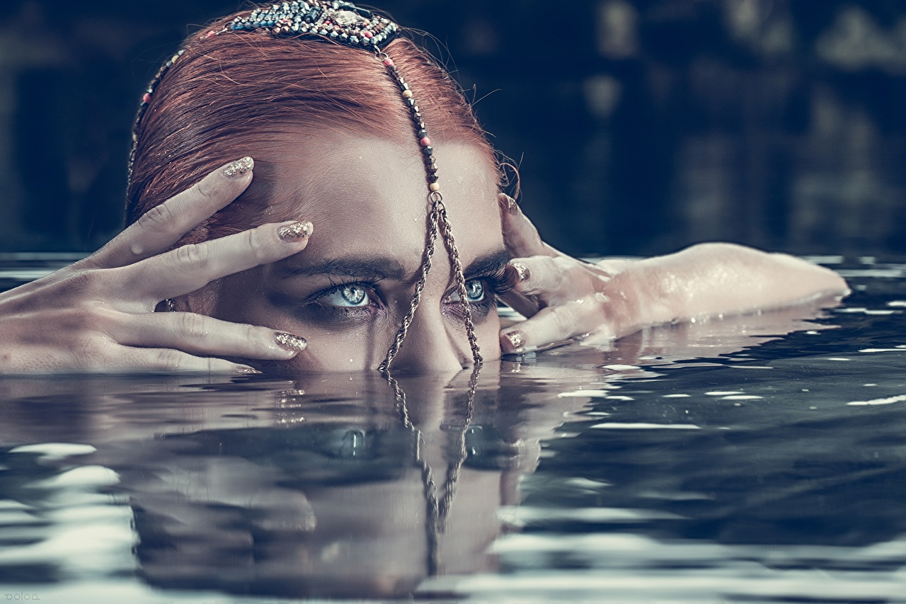 Image Redhead girl Face Girls Water Hands female young woman