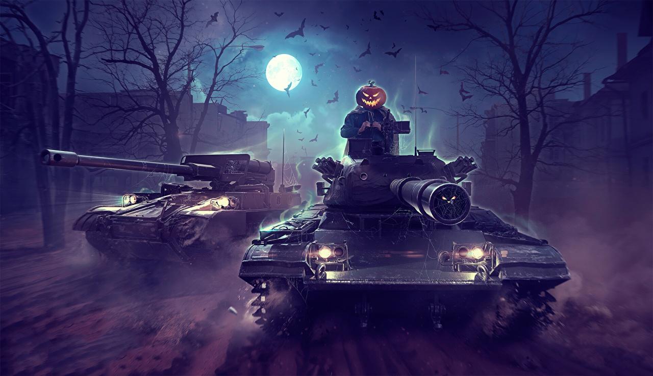 Picture WOT tank by Sergey Avtushenko Halloween Moon vdeo game Night World of Tanks Tanks Games night time