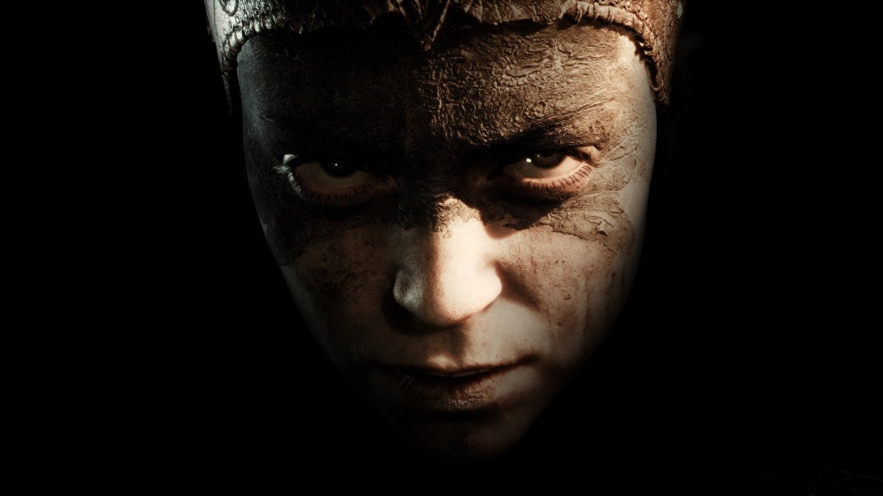 Image Hellblade: Senua's Sacrifice Face young woman Games Glance Black background Girls female vdeo game Staring
