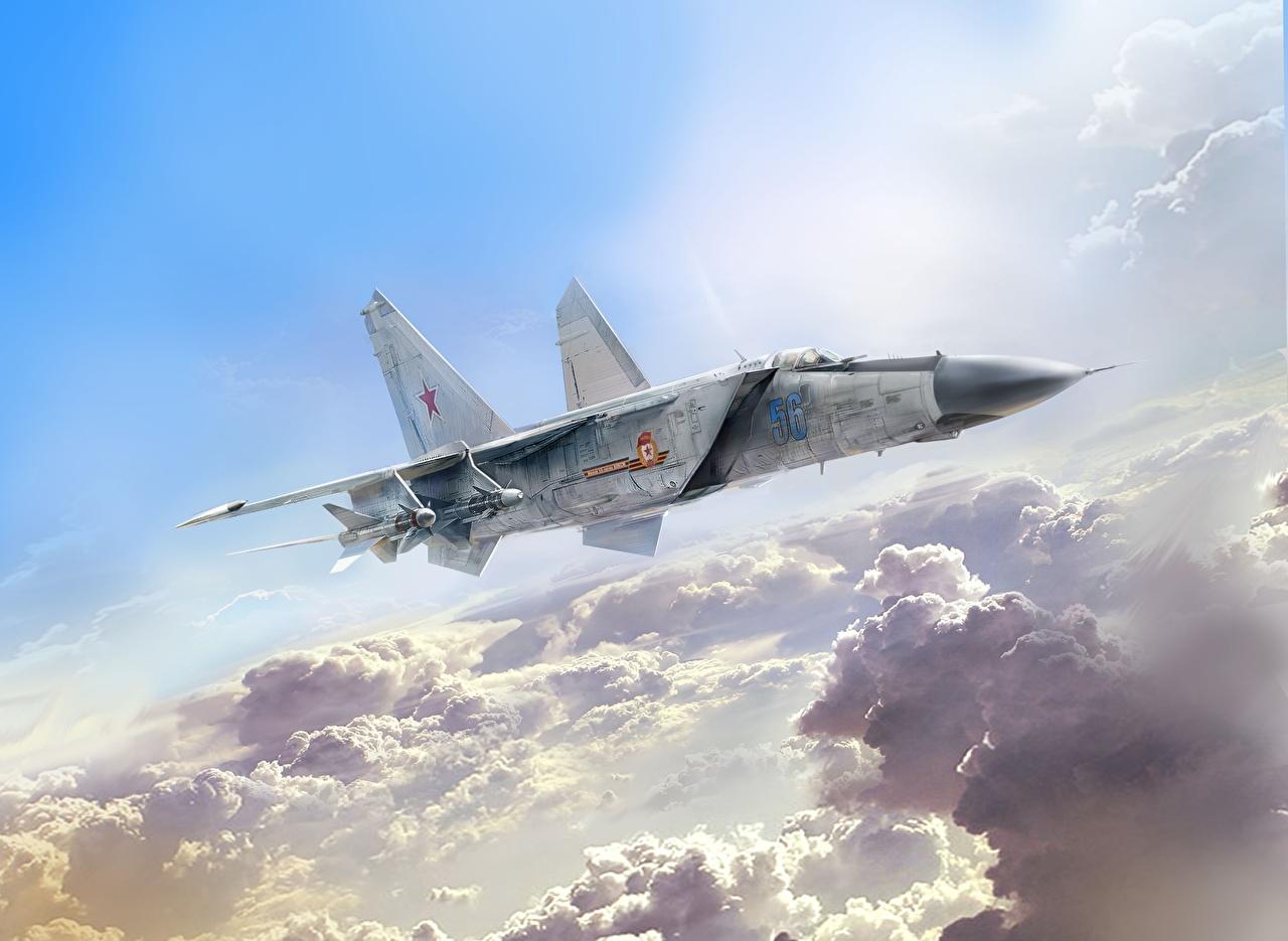 Fotos Jagdflugzeug Flugzeuge Russische Ivan Khivrenko, MiG-25PD Gezeichnet Luftfahrt russisches russischer