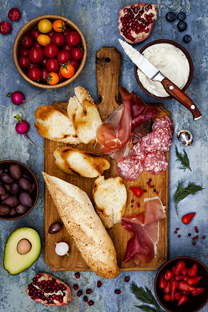 Wallpaper Olive Sausage Tomatoes Ham Bowl Bread Pomegranate Food Sliced food Cutting board  for Mobile phone
