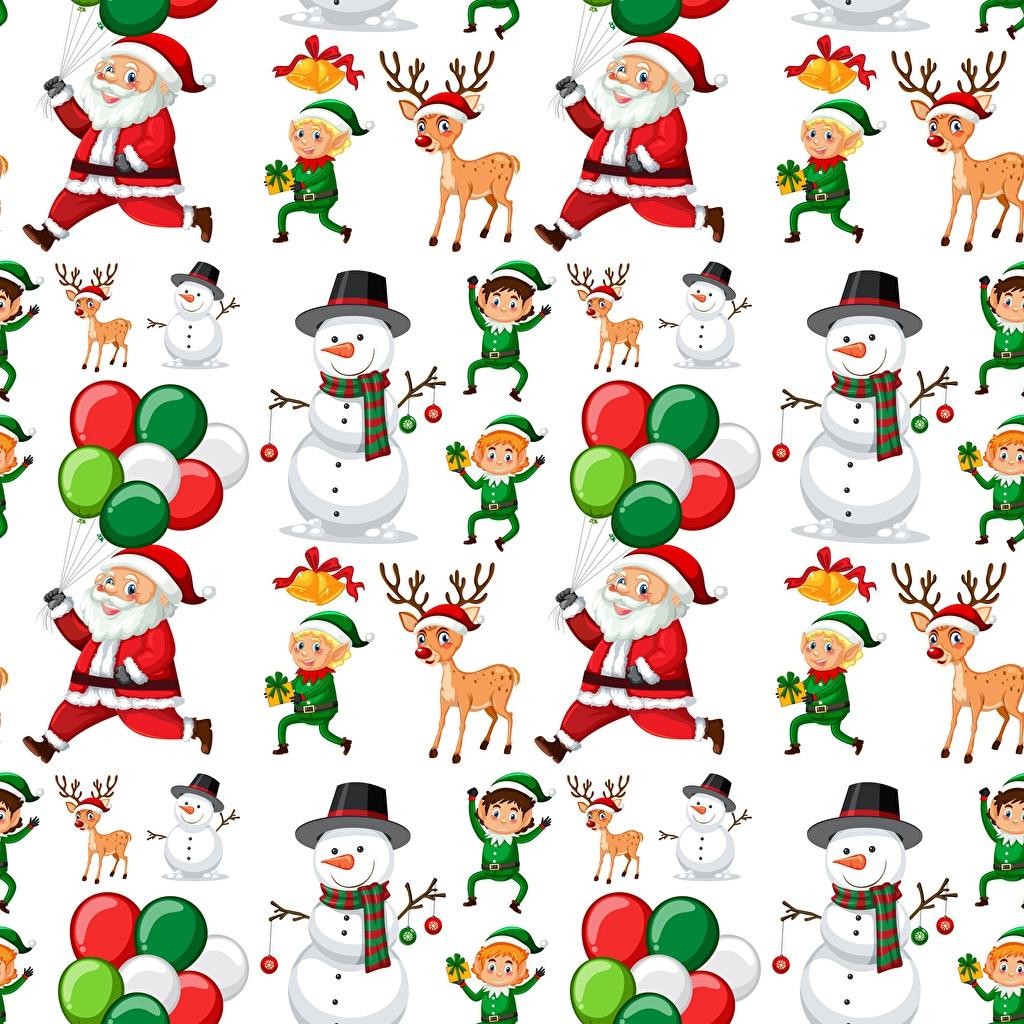 Bilder Hirsche Textur Neujahr Weihnachtsmann Schneemänner Weißer hintergrund