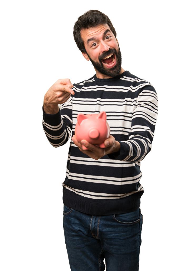 Foto Weißer hintergrund Mann Sparschwein Finger Freude Glücklich fröhliches glückliche fröhlicher glücklicher glückliches