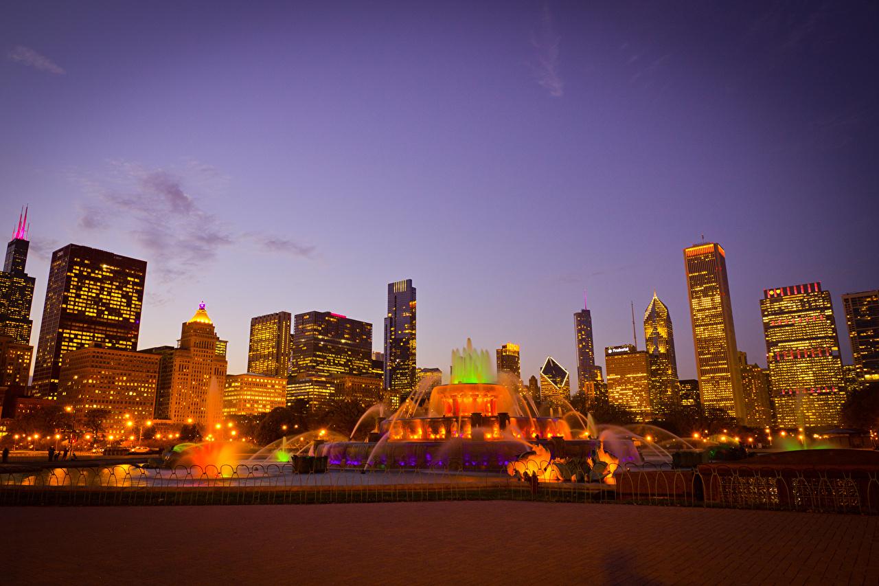 Photos Chicago city USA Fountains Illinois Skyscrapers Cities