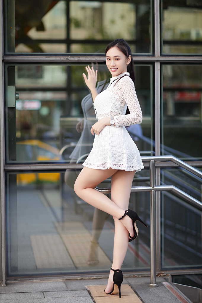 Pictures Pose young woman Legs Asian Staring frock  for Mobile phone posing Girls female Asiatic Glance gown Dress