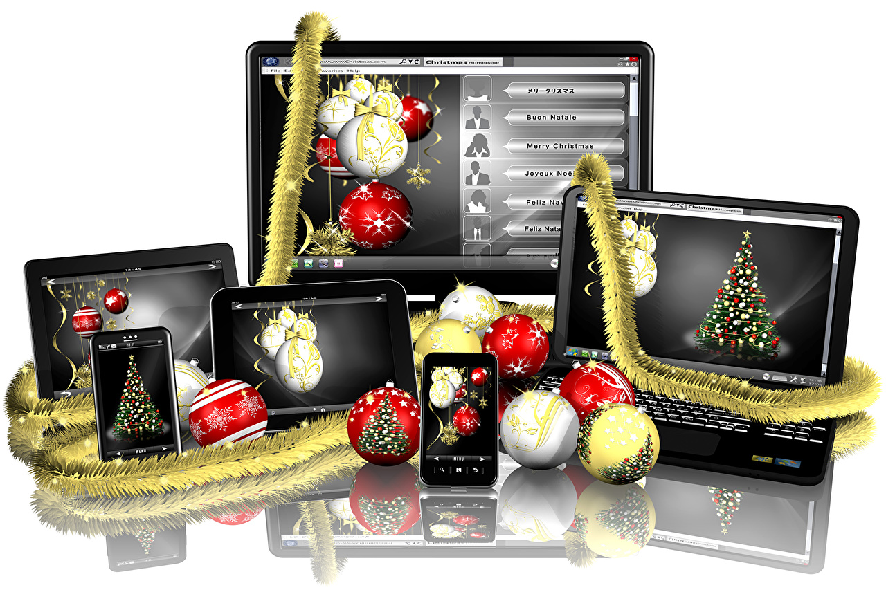 Picture Computers Laptops Christmas smartphones reflected Balls Monitor White background New year Smartphone Reflection