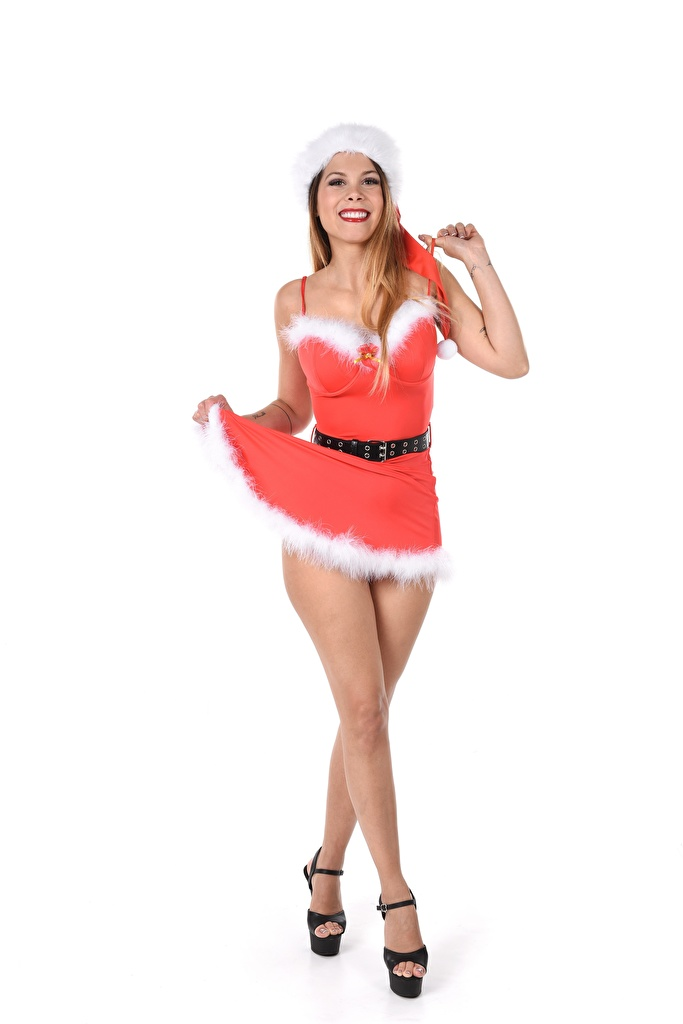 Picture Sally Gray Christmas Smile Pose Girls Winter hat Legs Hands Uniform high heels  for Mobile phone New year posing female young woman Stilettos