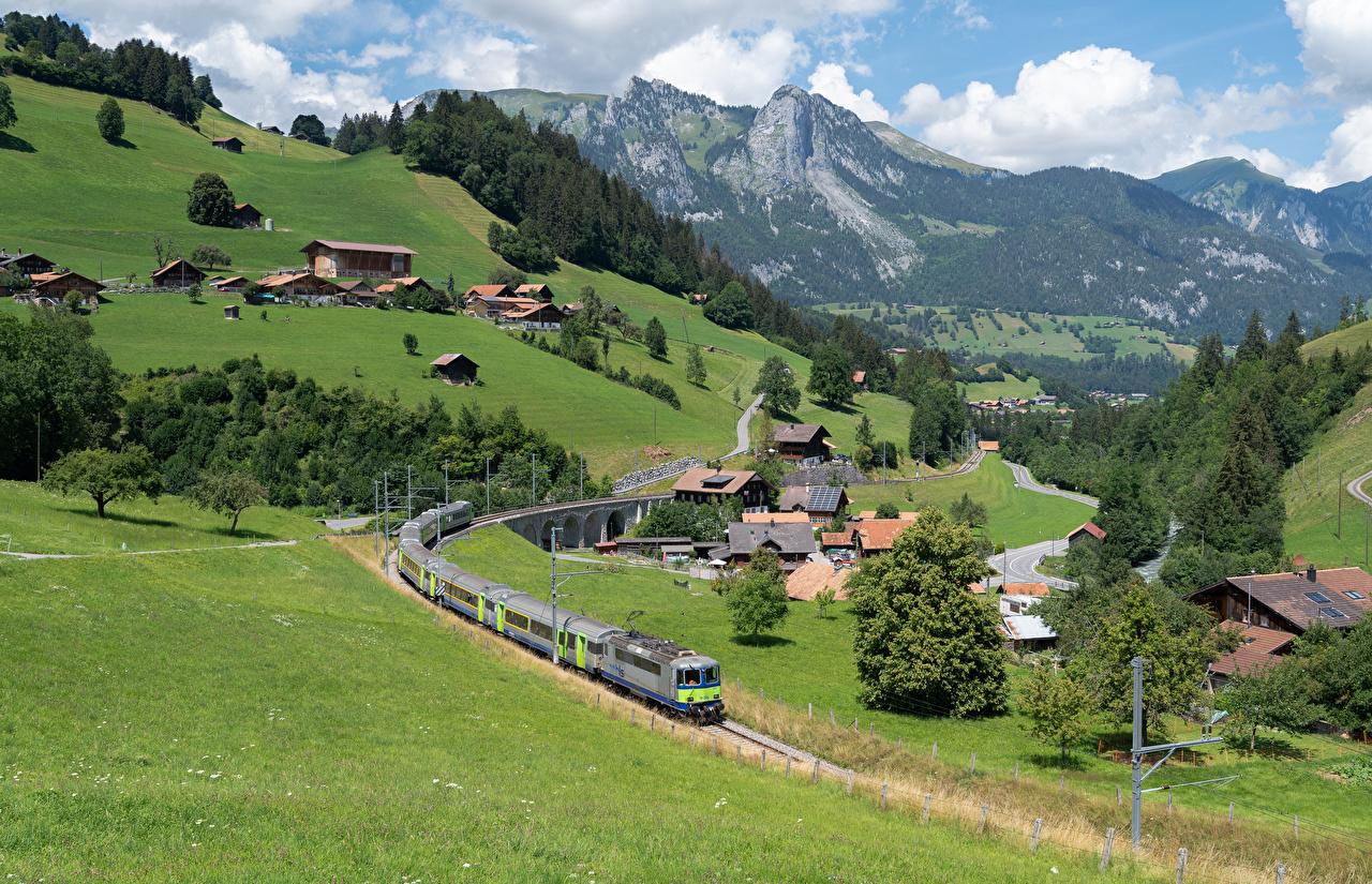 Picture Alps Switzerland Village Zweisimmen Mountains Railroads Houses Cities mountain Building