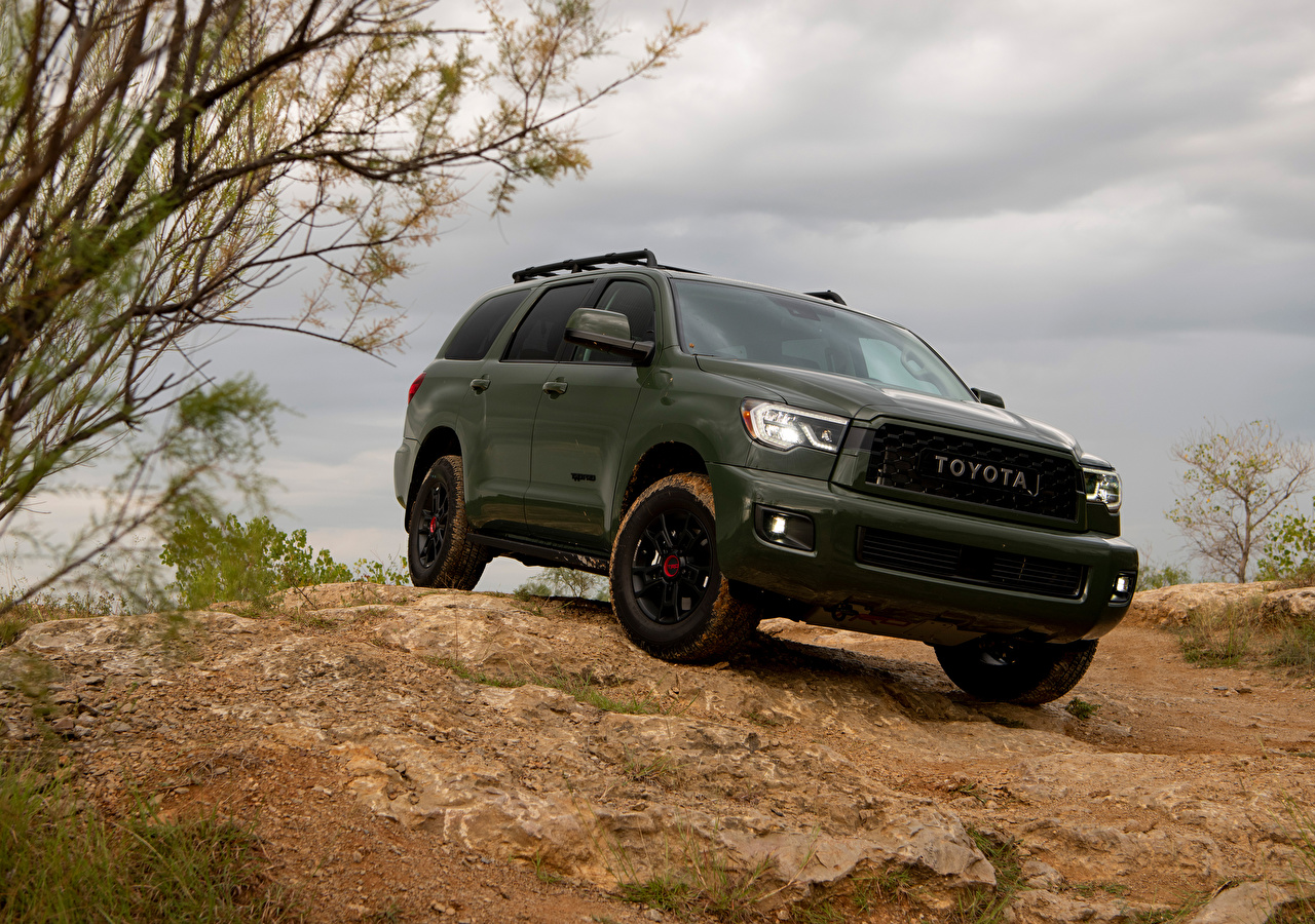 Desktop Wallpapers Toyota Crossover 2020 Sequoia TRD Pro Green Cars CUV auto automobile