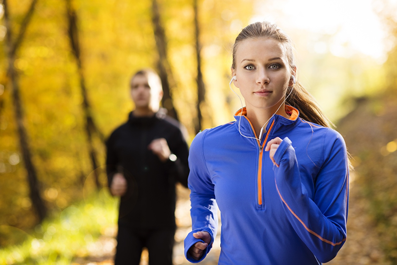 Images Run outdoor training sportswear Fitness Autumn sports young woman Running Girls Sport female athletic