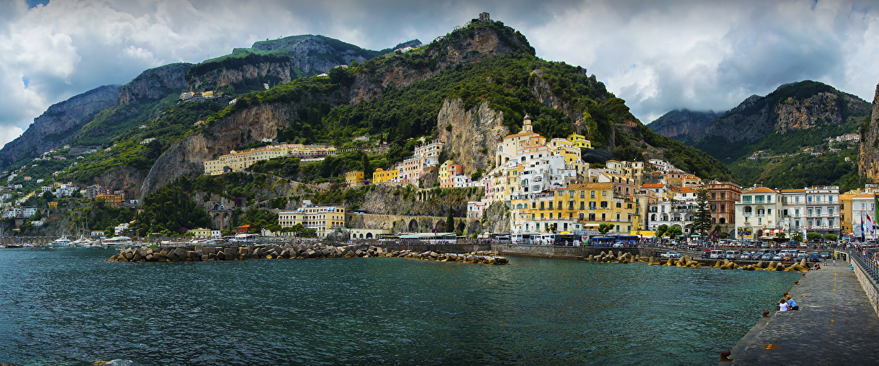 Photo Amalfi Italy Mountains Coast Houses Cities mountain Building