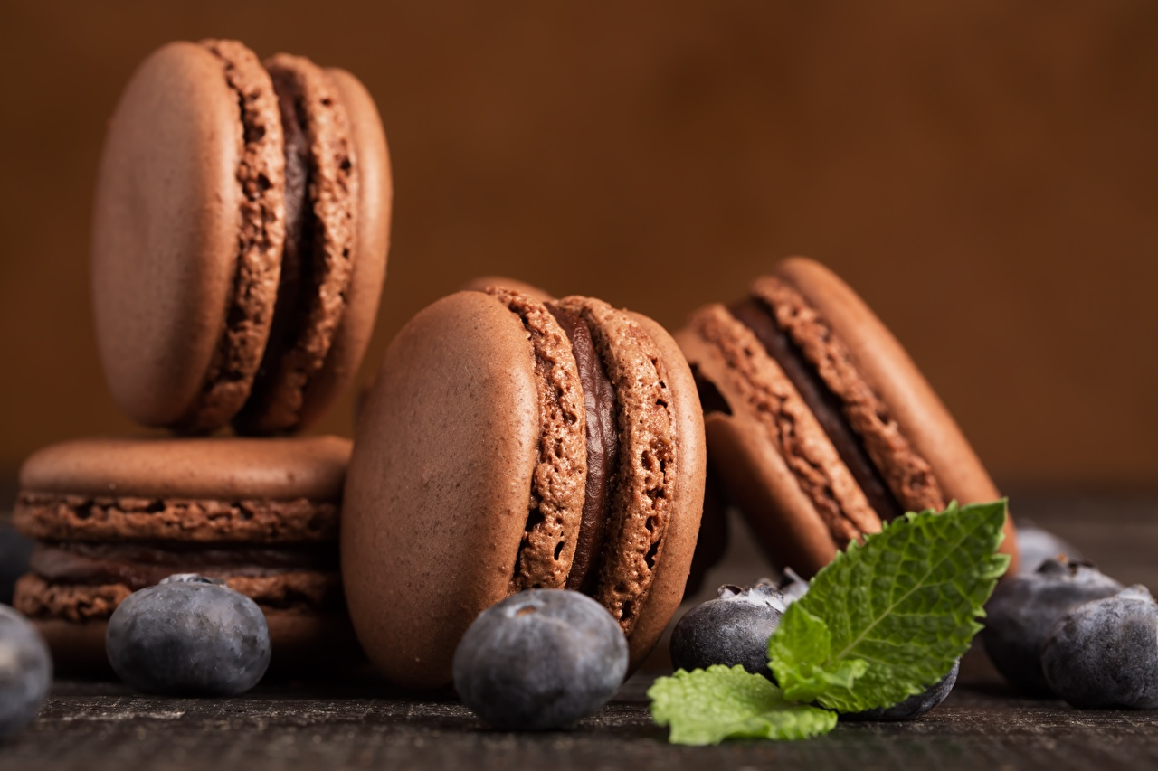 Images french macarons Chocolate Mentha Blueberries Food Berry Cookies Macaron mint