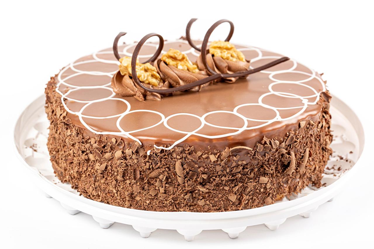 Wallpaper Chocolate Cakes Food White background Design Torte