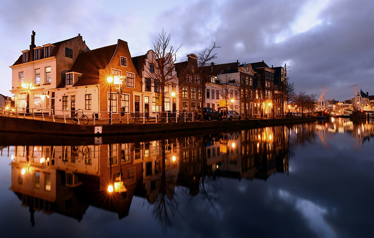 Image Netherlands Haarlem Rivers Evening Street lights Cities Building river Houses