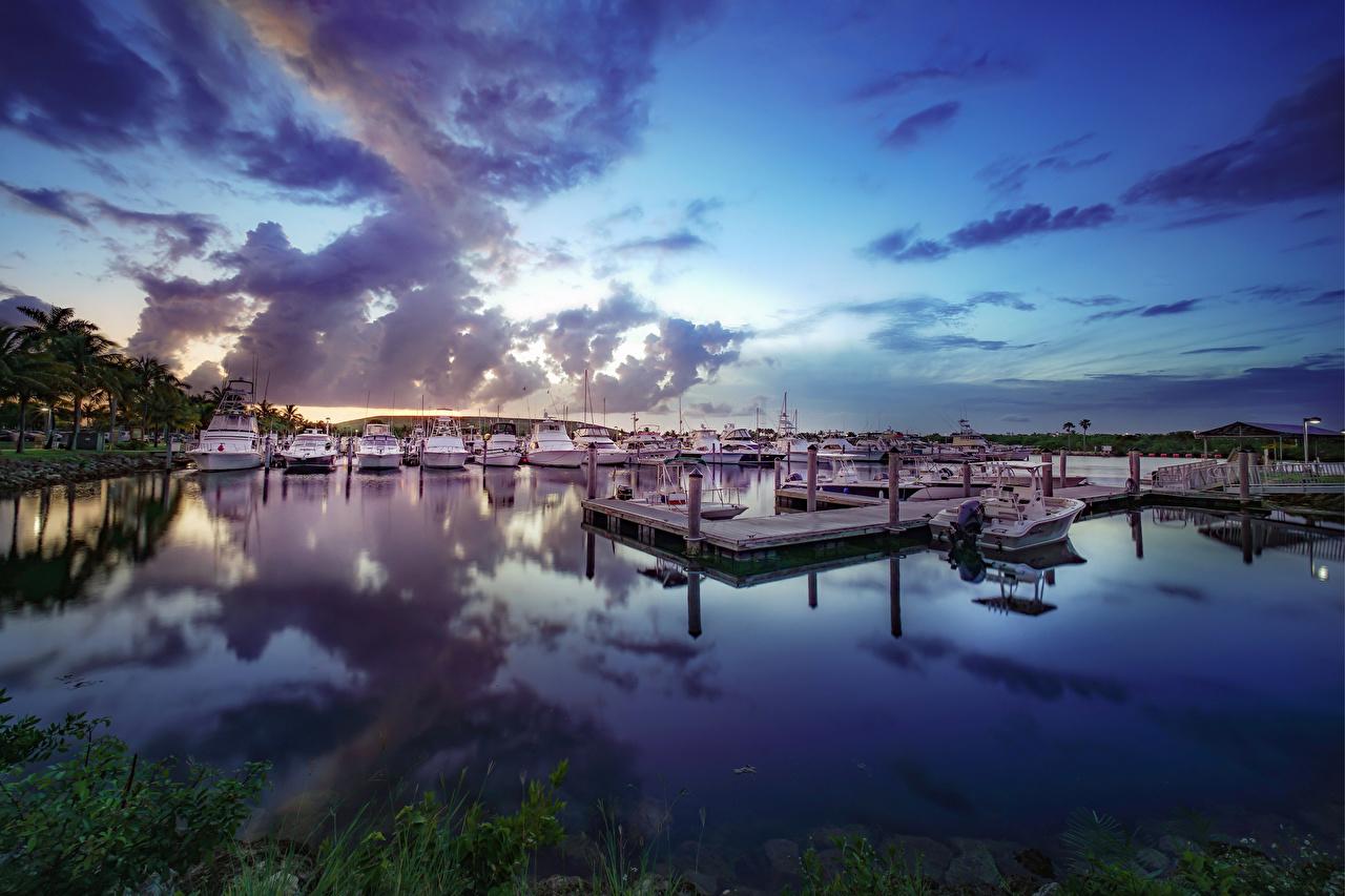 Photo Florida USA Miami-Dade Nature Sky Yacht Marinas Clouds Pier Berth