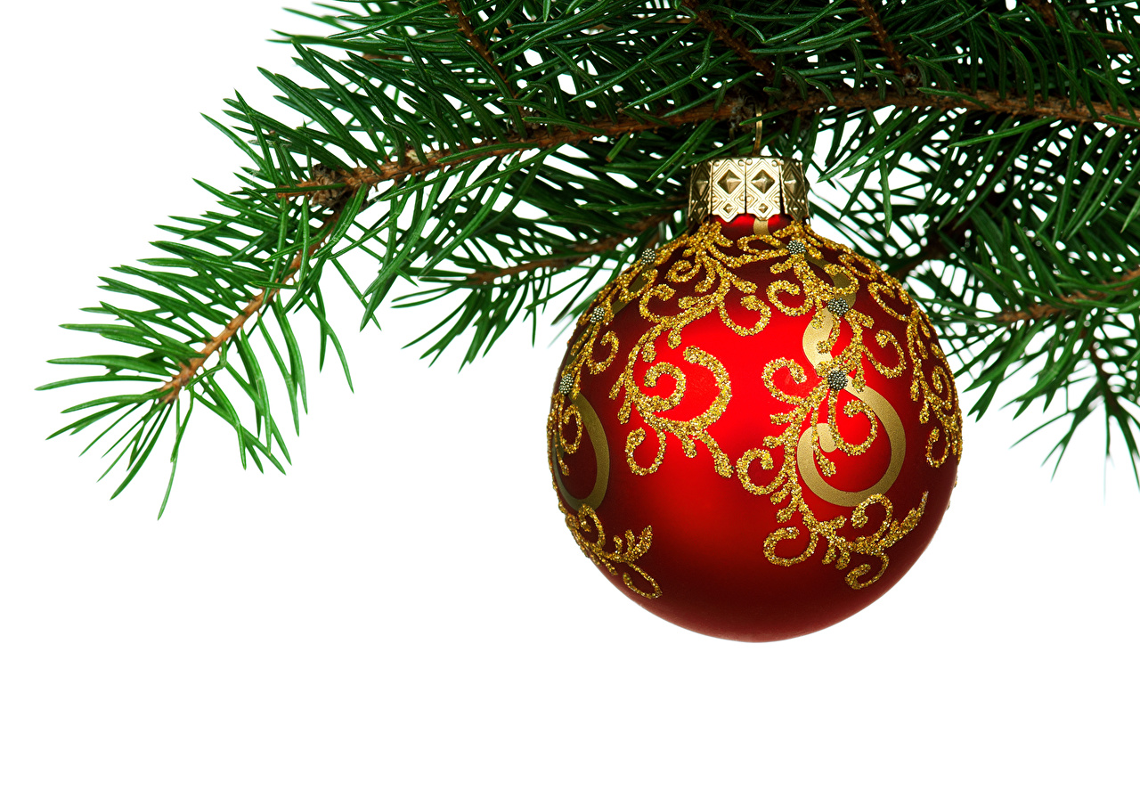 Kugel Für Tannenbaum.Foto Neujahr Tannenbaum Ast Kugeln Feiertage