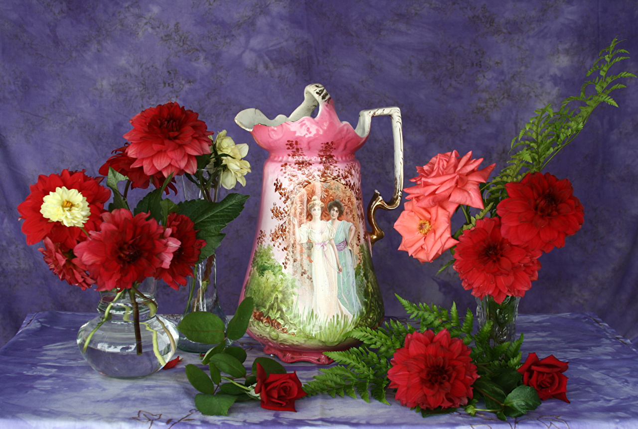 Wallpaper rose flower Dahlias pitcher Vase Roses jugs Flowers Jug container