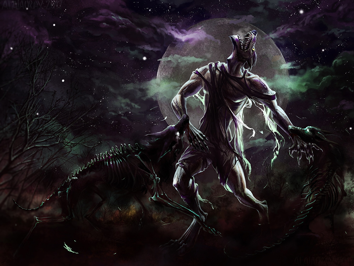 Desktop Wallpapers Wolf Monster Lycanthrope Fantasy Skeleton Moon