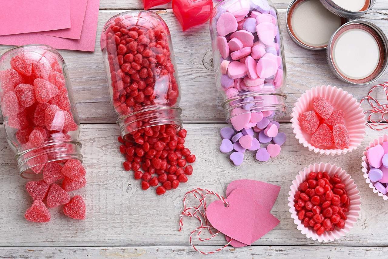 Desktop Wallpapers Valentine's Day Heart Marmalade Jar Food confectionery Sweets