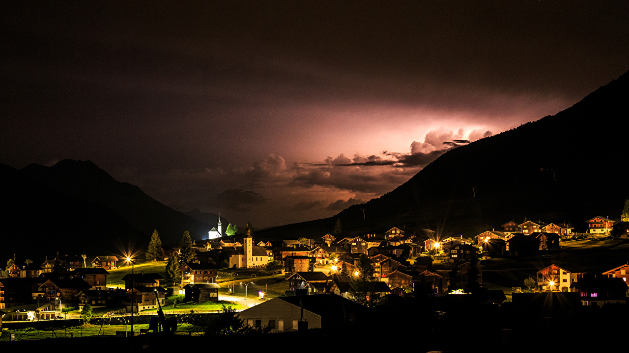 Picture Switzerland Wetterleuchten Gluringen mountain night time Houses Cities Mountains Night Building