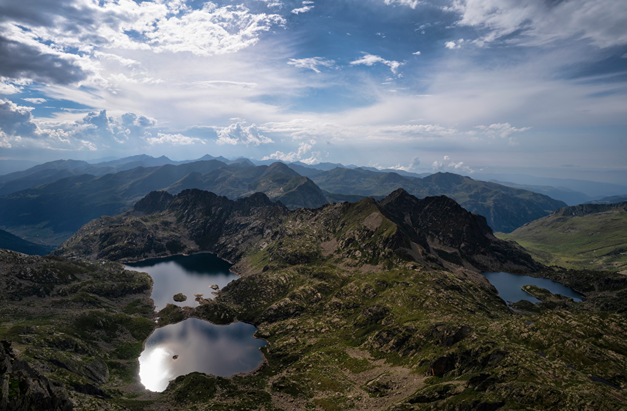 Images Andorra Juclar Lakes Nature mountain Sky Lake Clouds Mountains