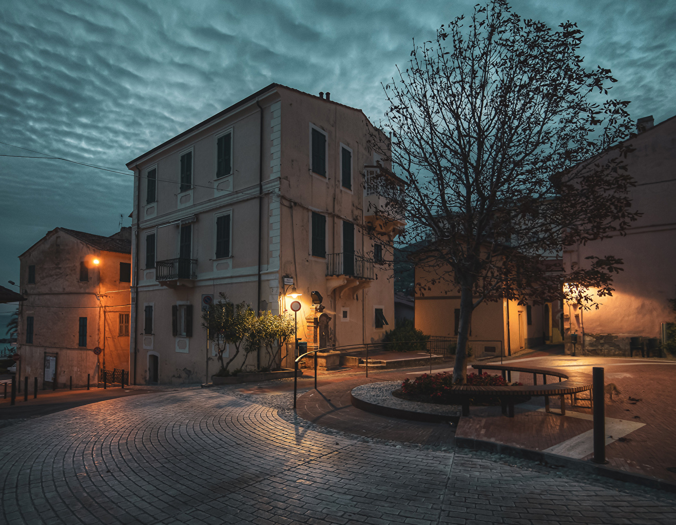 Images Italy Ospedaletti Street Night Bench Street lights Houses Cities night time Building