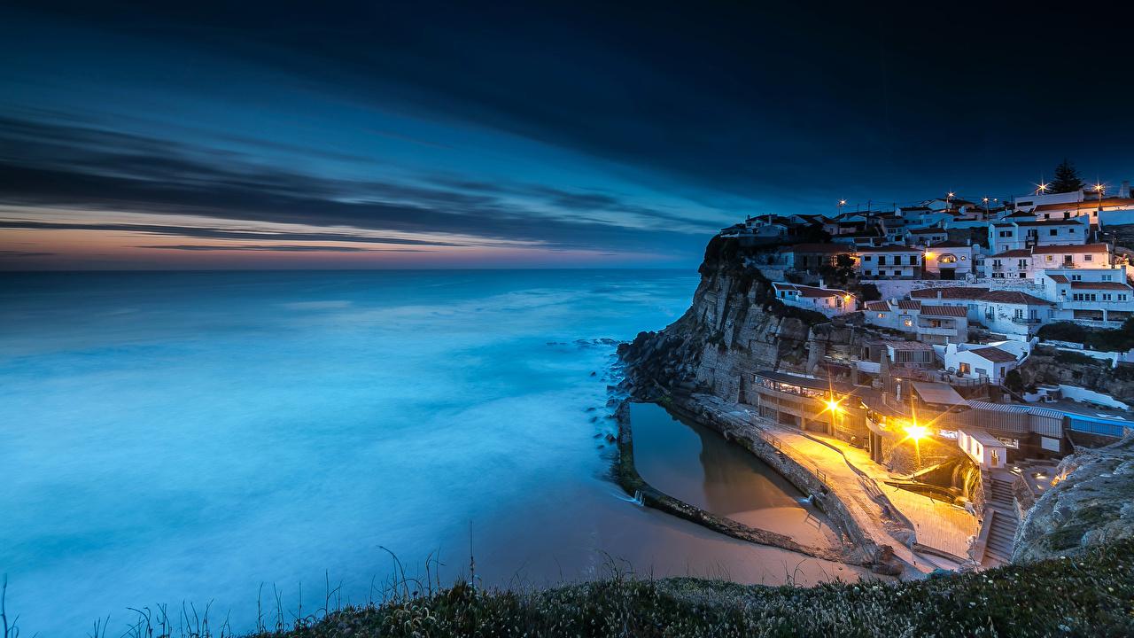 Wallpaper Sintra Portugal Azenhas do Mar Cliff Coast night time Street lights Cities Building Crag Rock Night Houses