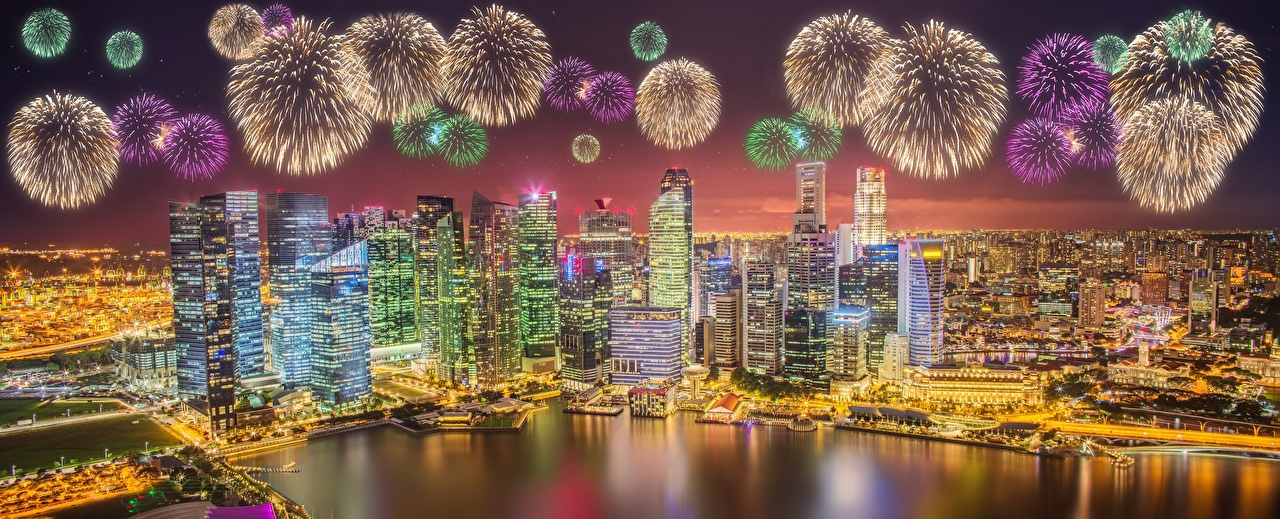Image Singapore Fireworks Megapolis Night Cities Houses
