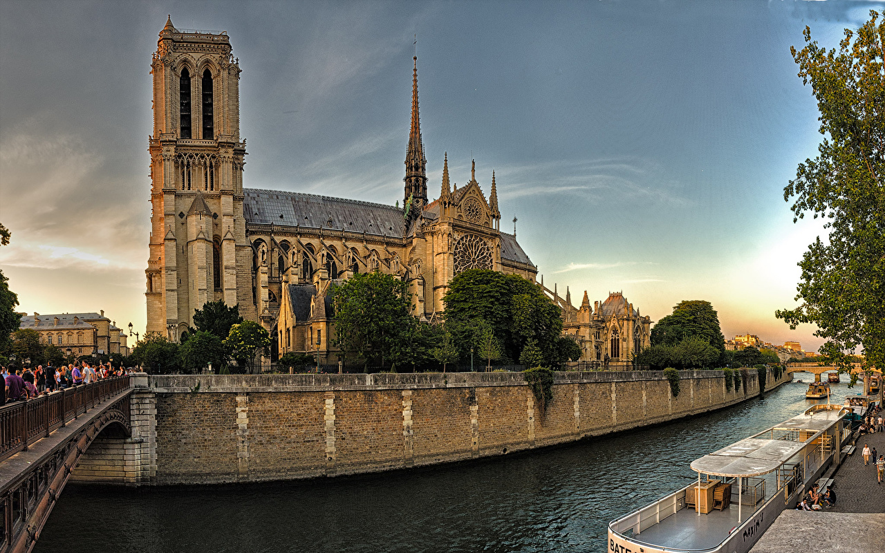 Image Paris Cathedral France Notre-Dame bridge river Temples Cities Bridges temple Rivers