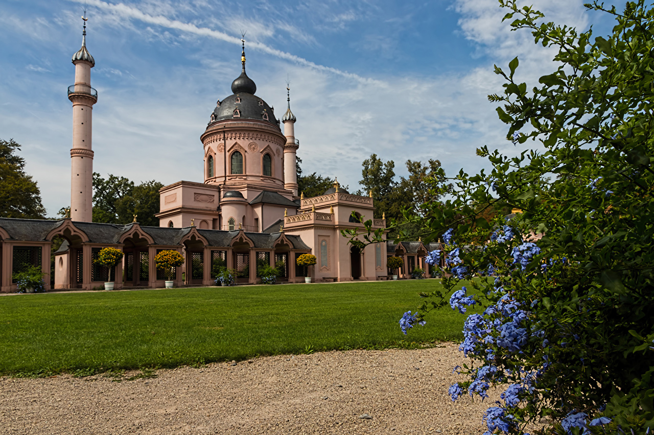 Picture Church Germany Mosque in Schwetzingen Palace Lawn Temples Cities temple