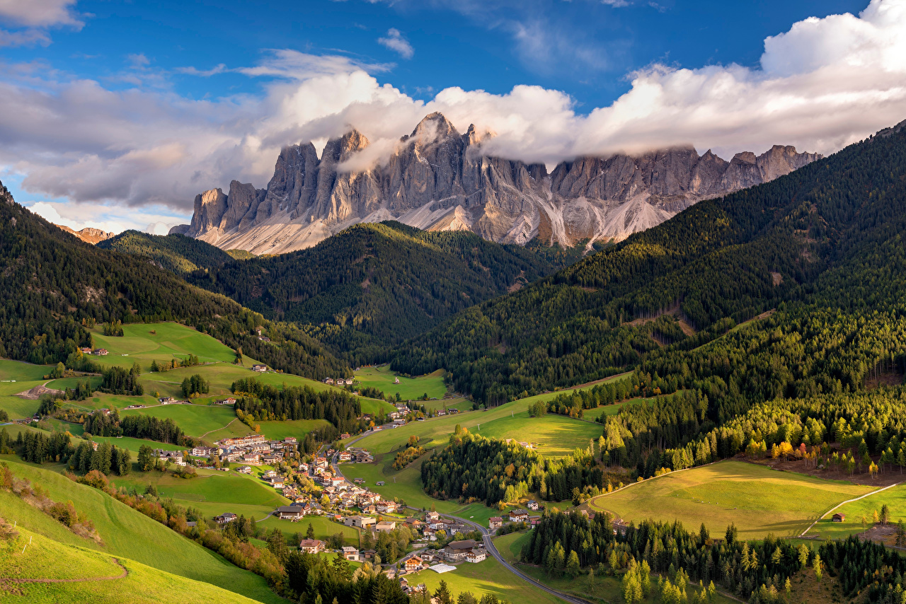 Photos Alps Italy Villnoess valley, Dolomites Valley Nature mountain From above Trees Clouds Mountains