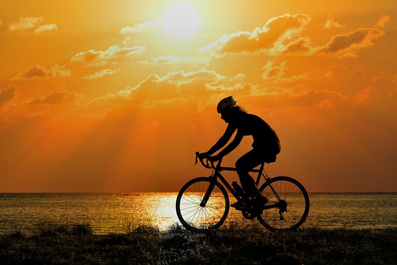 Levers et couchers de soleil Latéralement Silhouette Bicyclette Mouvement sportive, sportives, l'aube et le coucher du soleil, vélo, vélos, bicycle, silhouettes, la vitesse Sport