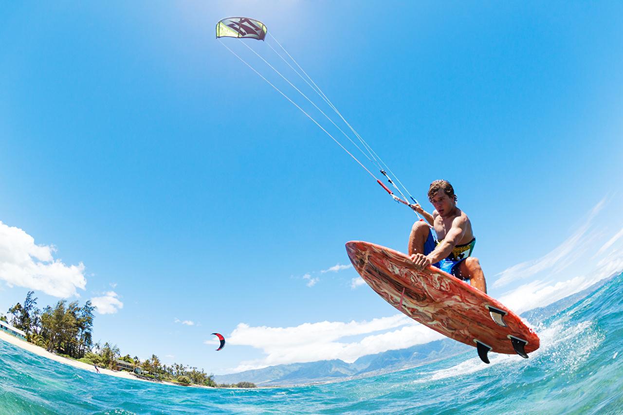 Wallpaper Man Surfing Athletic Sky Jump Water