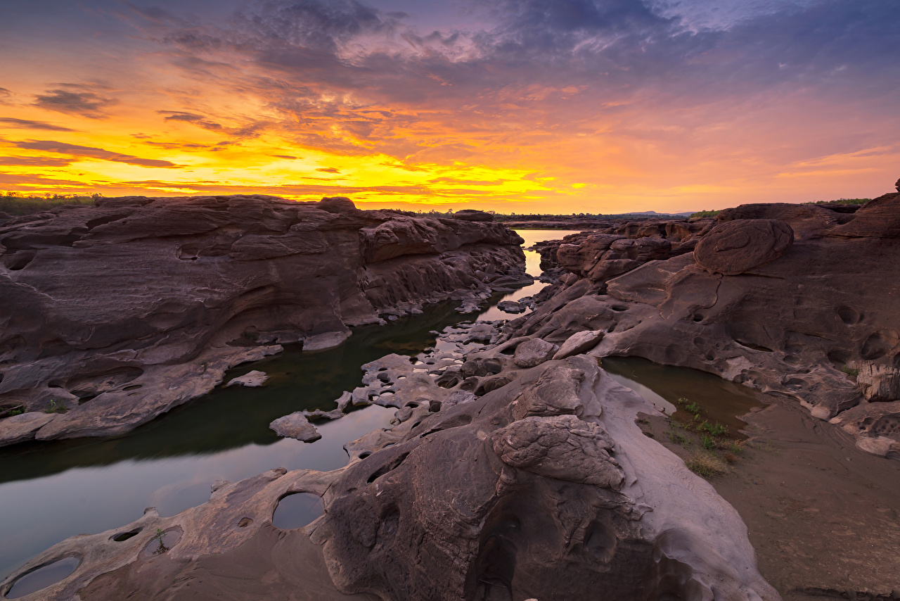 Wallpapers Thailand Sampanbok natural stone park Crag Nature Parks Sunrises and sunsets Rivers Rock Cliff