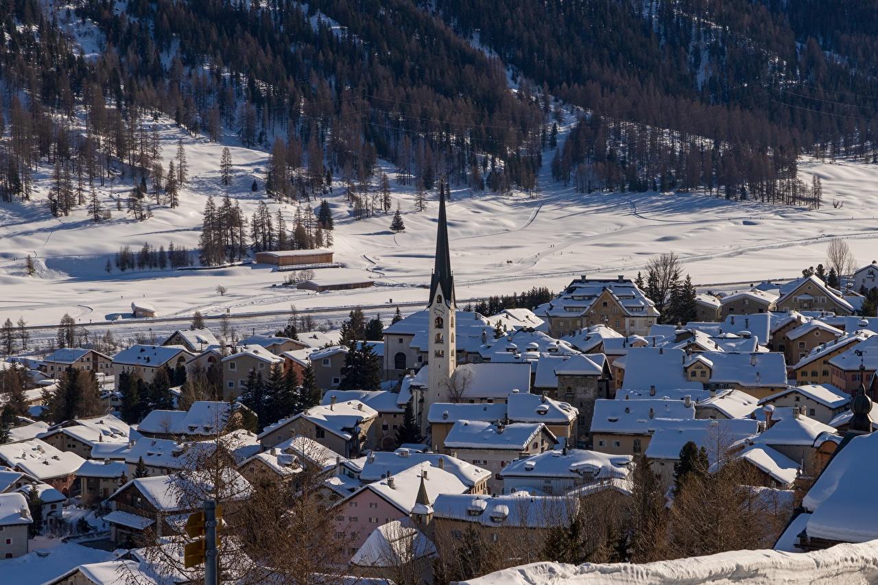 、冬、住宅、教会堂、スイス、雪、村、建物、都市、