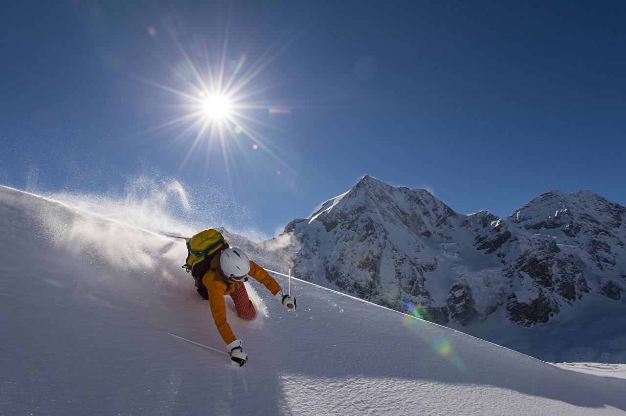 Bilder Helm Mann Sonne Winter Gebirge sportliches Schnee Skisport Sport