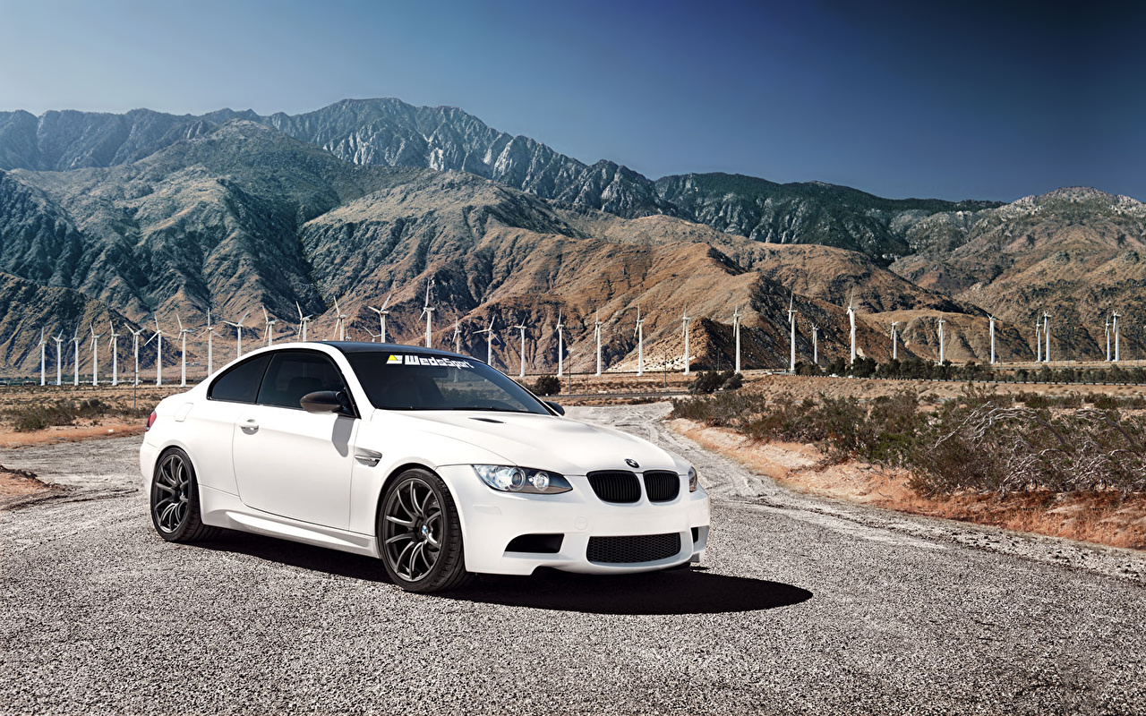 Photo BMW m3 White mountain Cars Mountains auto automobile