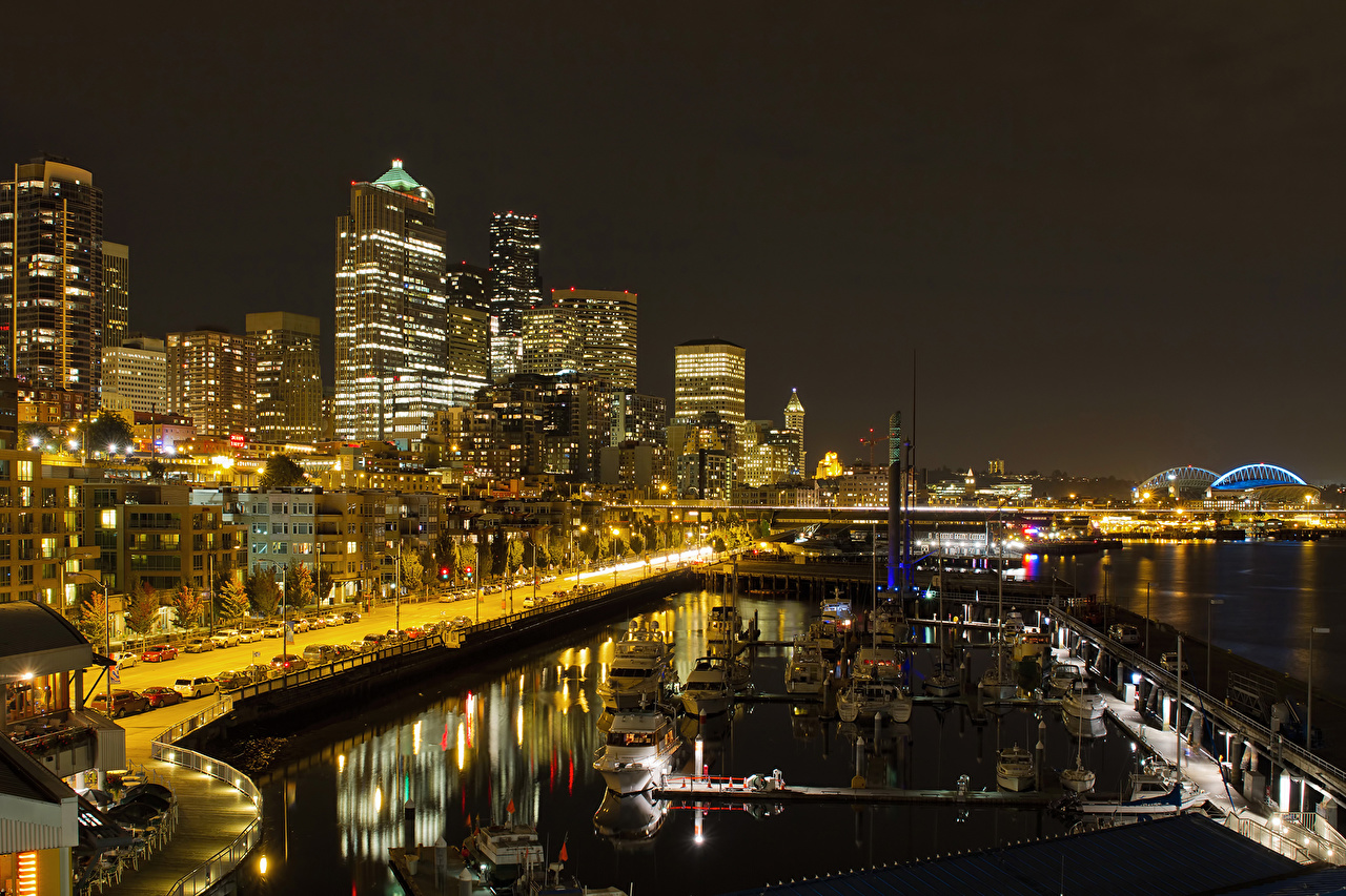 Desktop Wallpapers Seattle USA Night river Skyscrapers Cities Rivers night time