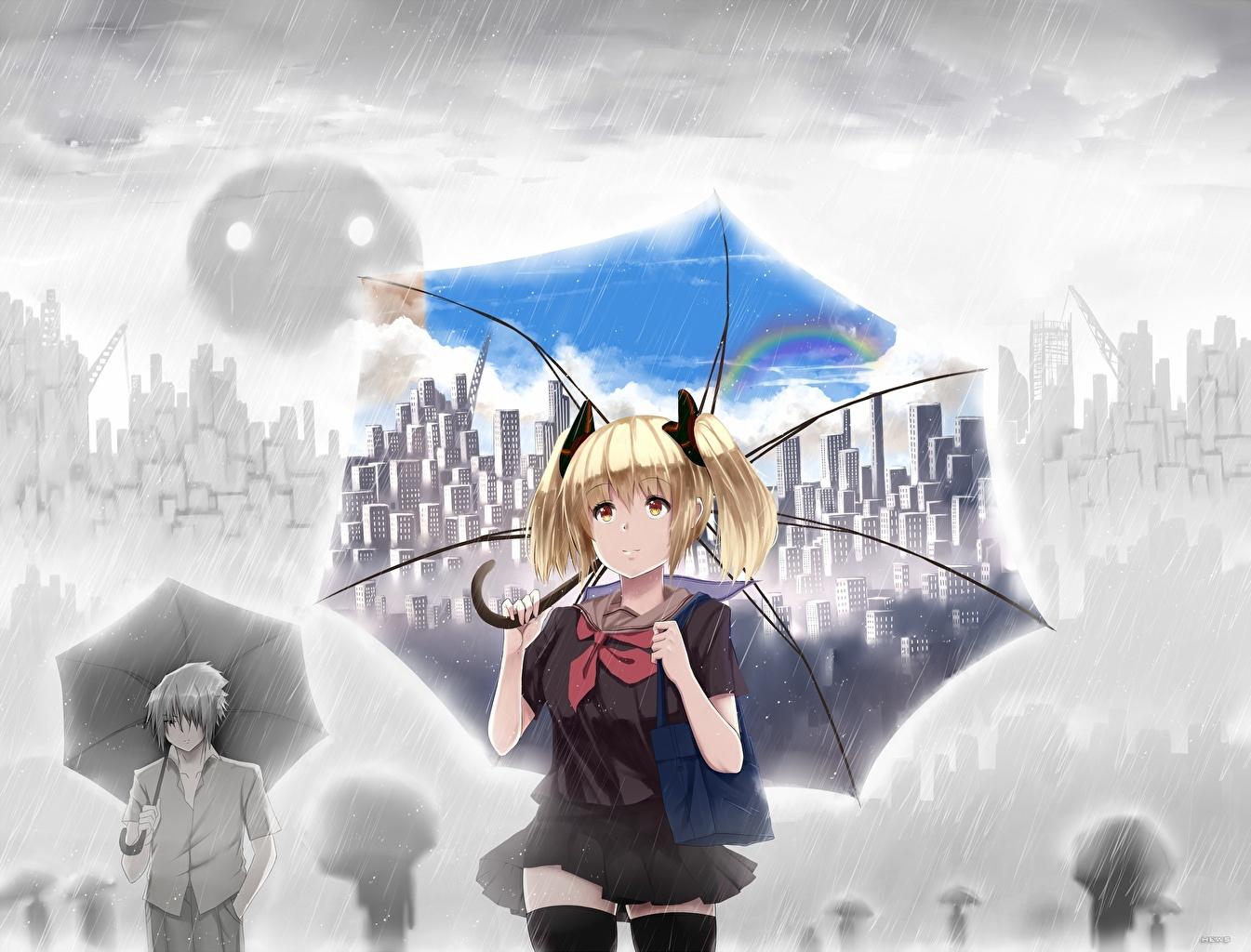 Photo Schoolgirl Blonde girl hewsack Anime Girls Rain Umbrella Schoolgirls female young woman parasol