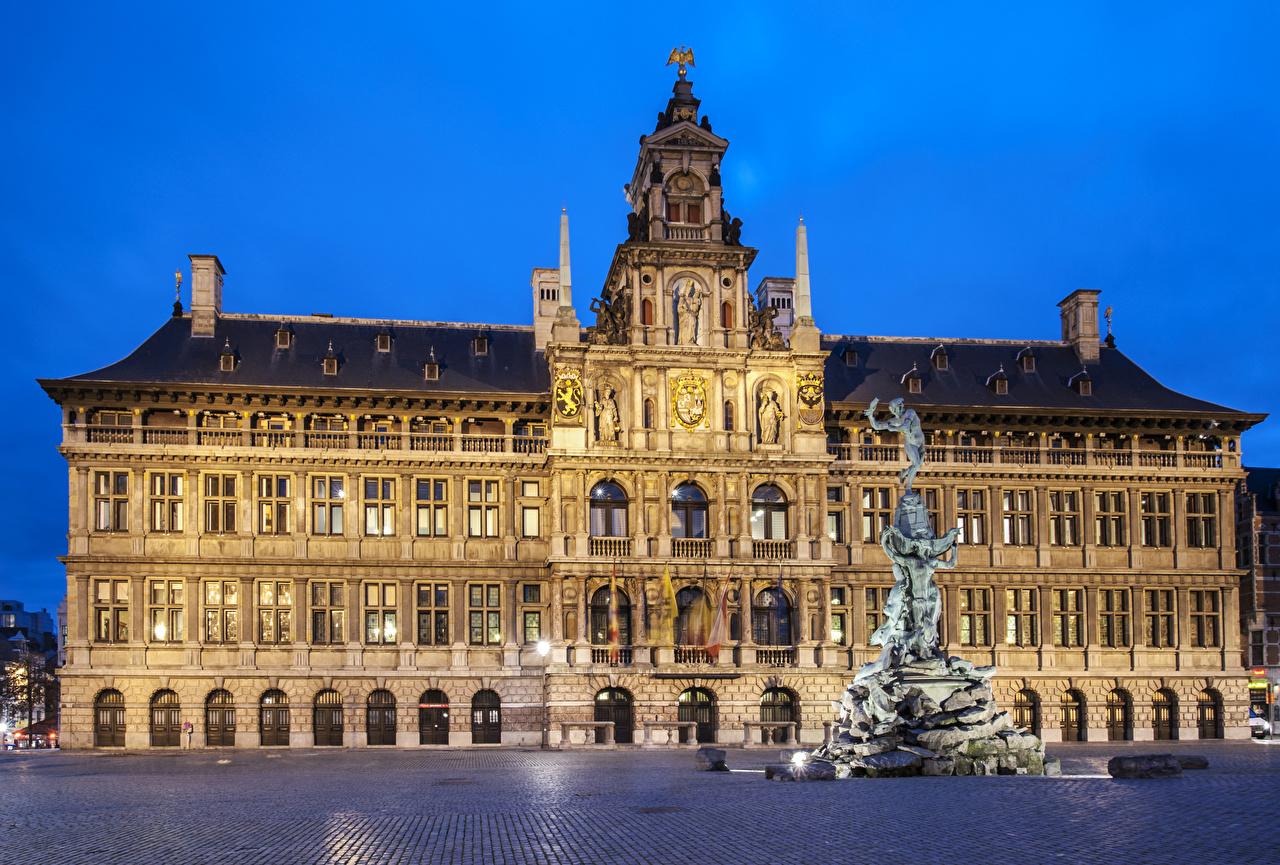 Foto Belgien Denkmal Platz Antwerpen Abend Städte Gebäude Haus
