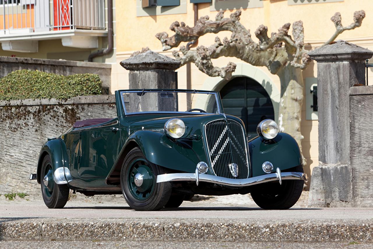 Pictures Citroen 1938-39 Traction Avant 15-Six G Cabriolet vintage Metallic automobile Convertible Retro antique Cars auto