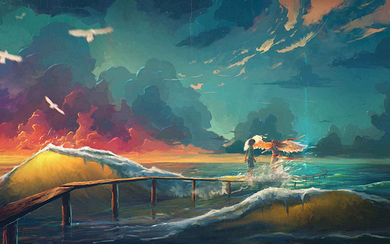 Photos Sea Two Fantasy angel Waves Clouds 2 Angels