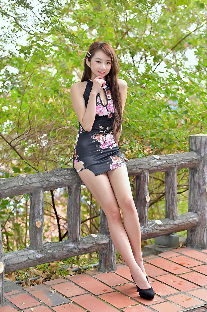 Bakgrunnsbilder til skrivebordet Brunt hår kvinne Unge kvinner Ben gjerder Asiater Blikk Kjole  til Mobilen ung kvinne Gjerde asiatisk ser