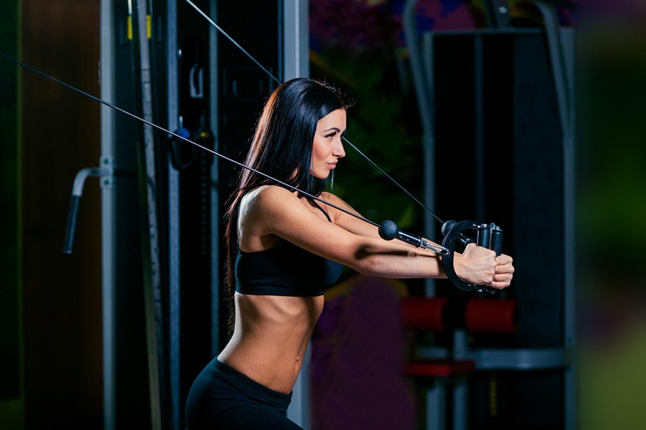 Fotos von Brünette Körperliche Aktivität Fitness Sport Mädchens Trainieren