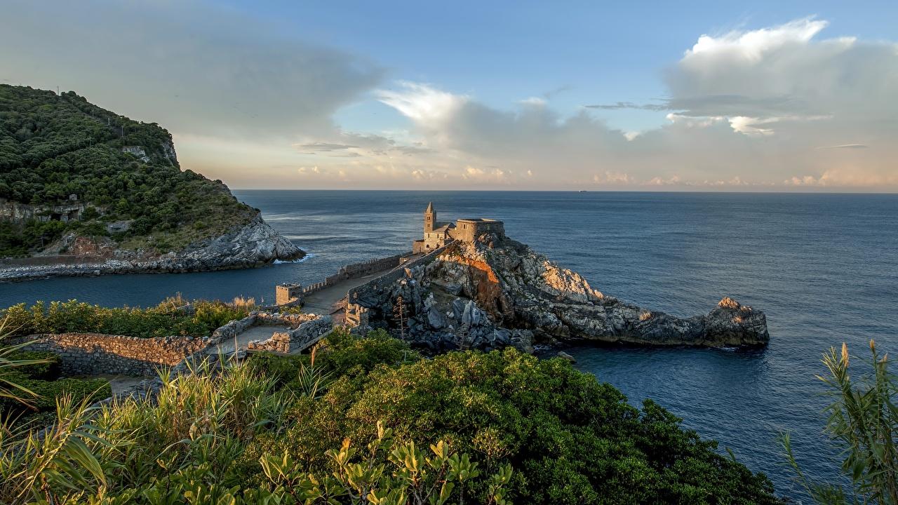 Bilder Ligurien Italien Portovenere Meer Natur Morgen Küste