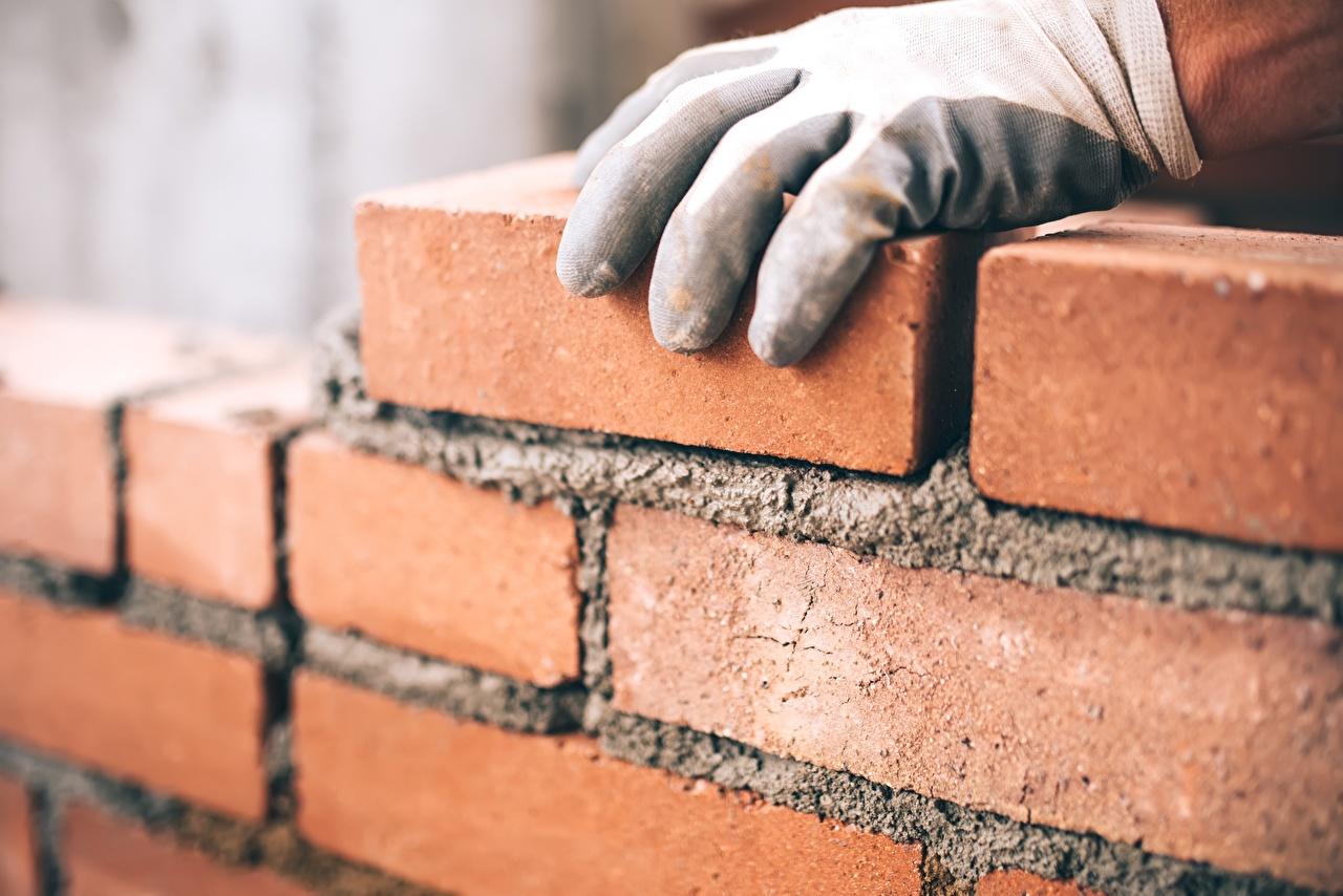 Image Glove Made of bricks walls Hands Wall