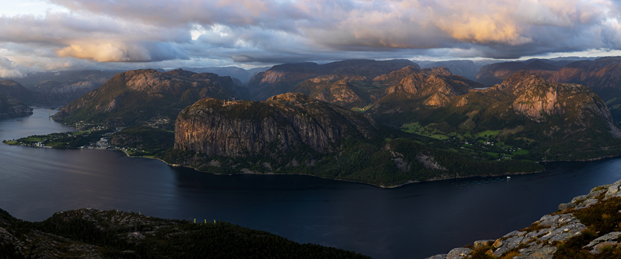 Picture Norway Rogaland Nature Mountains Bay Moss Clouds mountain