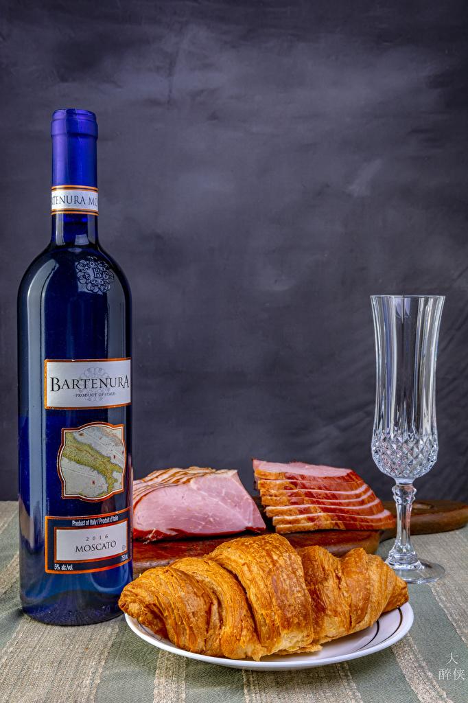 Fotos Wein Croissant Schinken flaschen das Essen Dubbeglas Stillleben  für Handy Flasche Lebensmittel