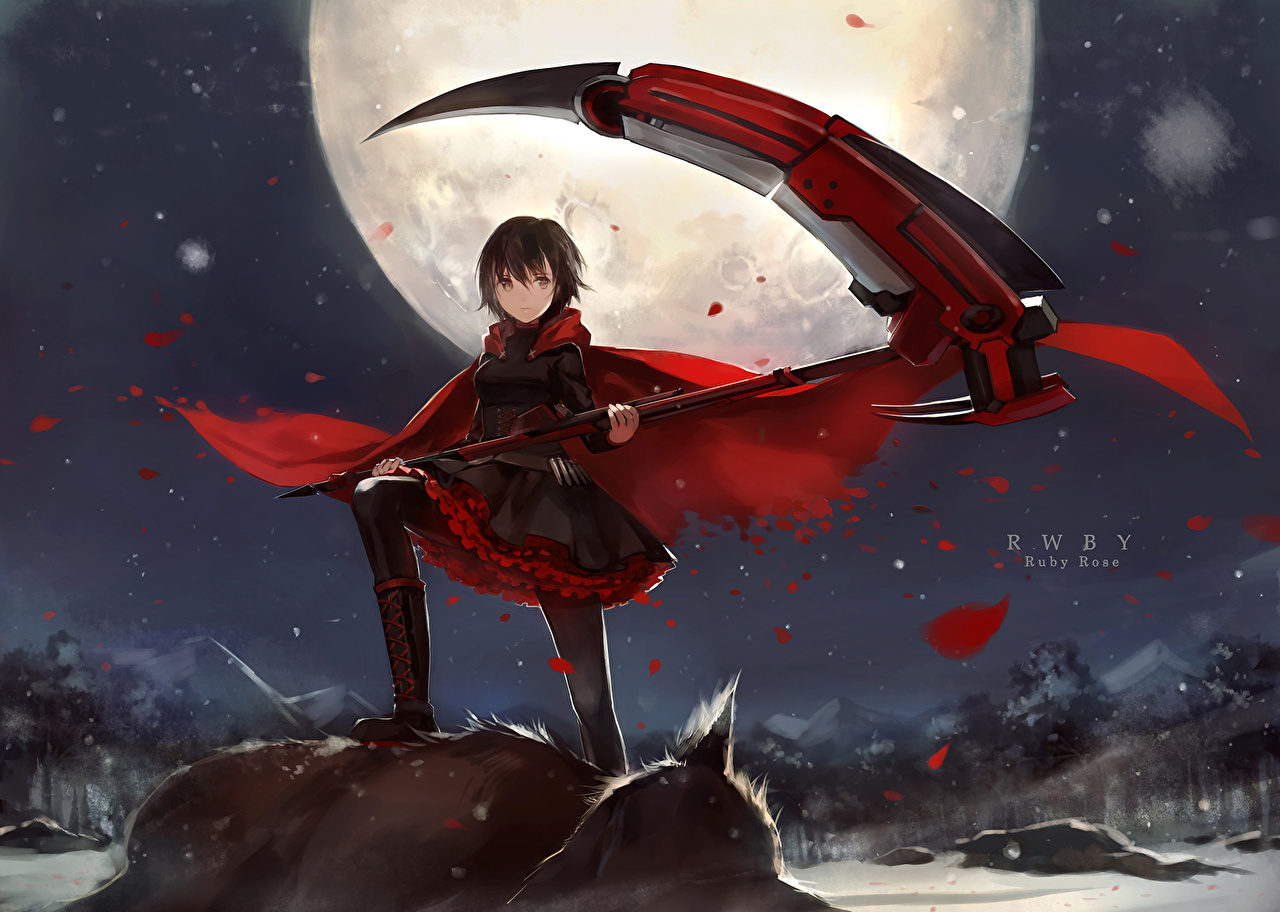Wallpaper Scythe Warrior Rwby Ruby Rose Anime Girls Moon